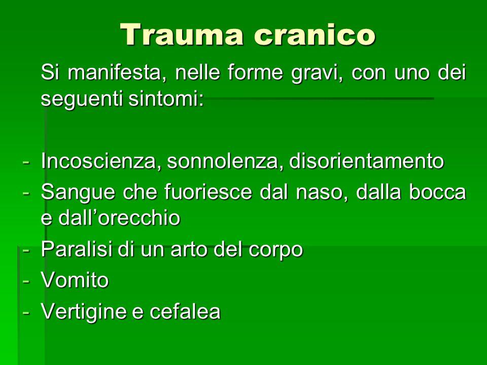 Trauma cranico Si manifesta, nelle forme gravi, con uno dei seguenti sintomi: Incoscienza, sonnolenza, disorientamento.