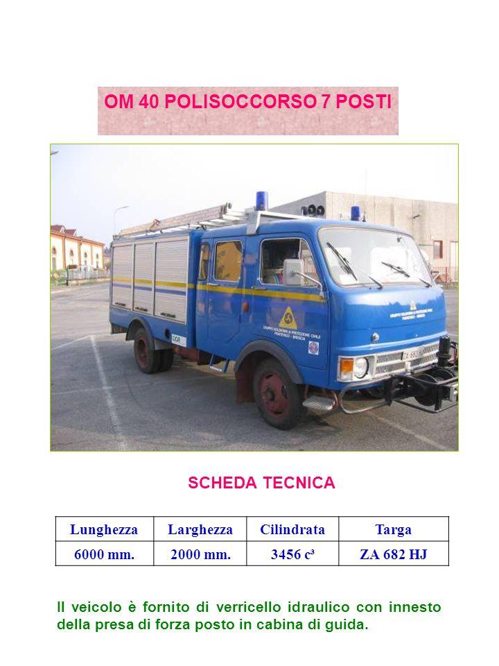 OM 40 POLISOCCORSO 7 POSTI SCHEDA TECNICA Lunghezza Larghezza