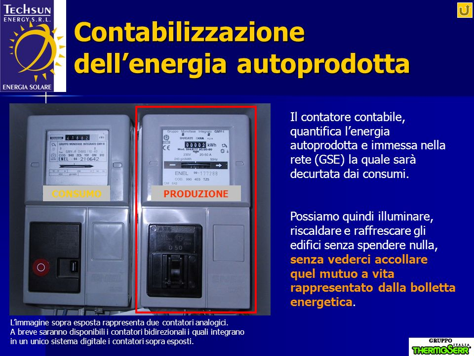 Contabilizzazione dell'energia autoprodotta