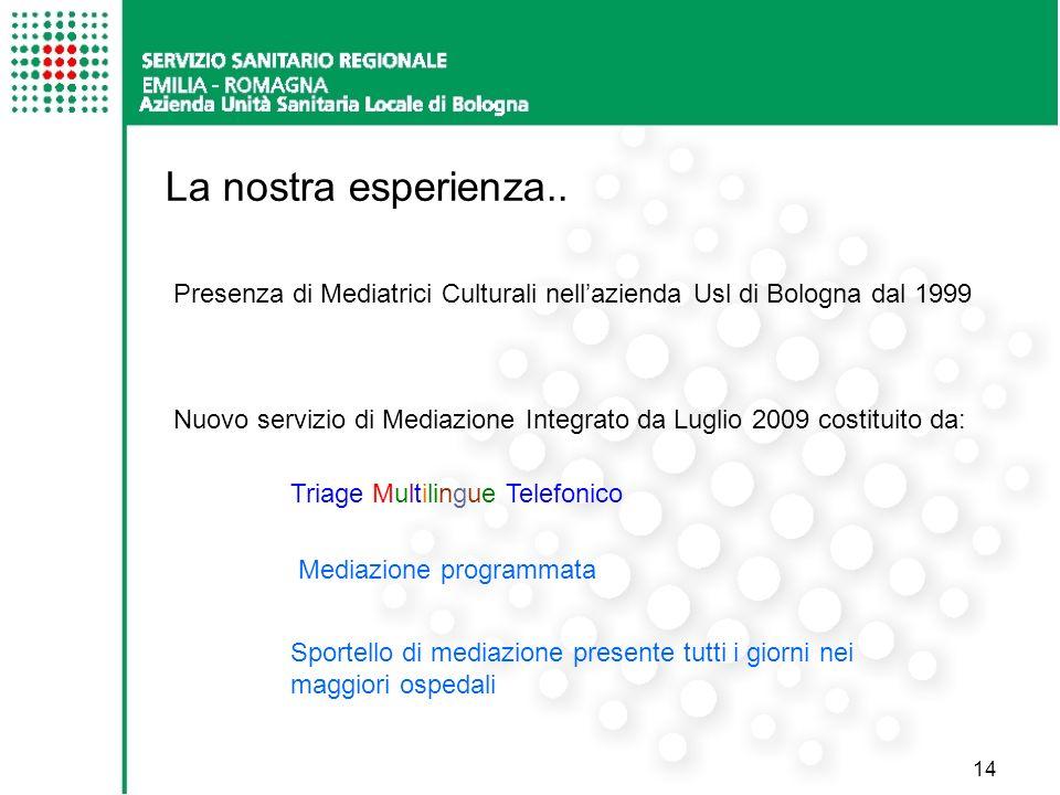 La nostra esperienza.. Presenza di Mediatrici Culturali nell'azienda Usl di Bologna dal 1999.