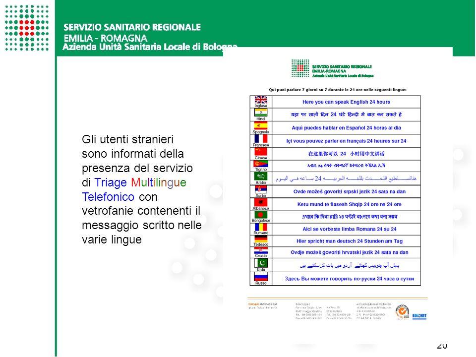 Gli utenti stranieri sono informati della presenza del servizio di Triage Multilingue Telefonico con vetrofanie contenenti il messaggio scritto nelle varie lingue