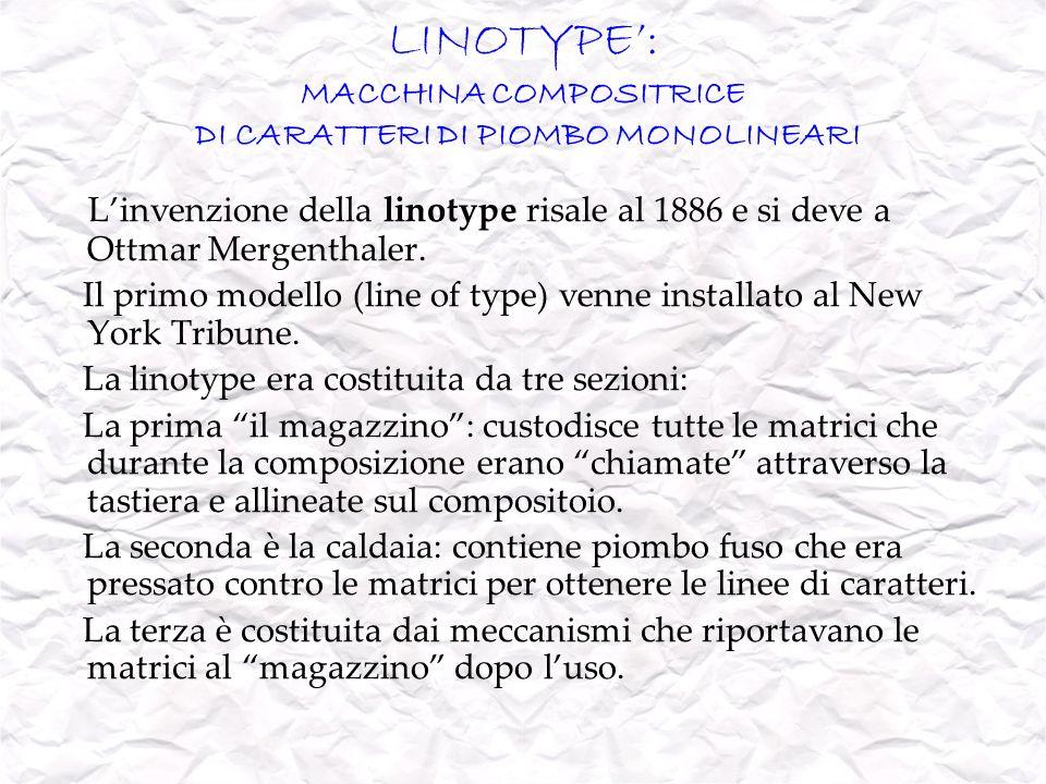 LINOTYPE': MACCHINA COMPOSITRICE DI CARATTERI DI PIOMBO MONOLINEARI
