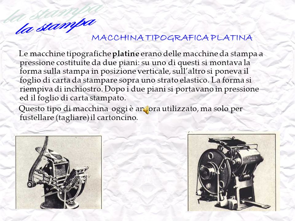 MACCHINA TIPOGRAFICA PLATINA