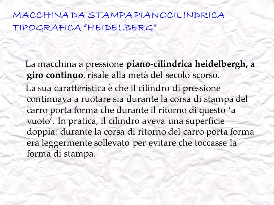 MACCHINA DA STAMPA PIANOCILINDRICA TIPOGRAFICA HEIDELBERG