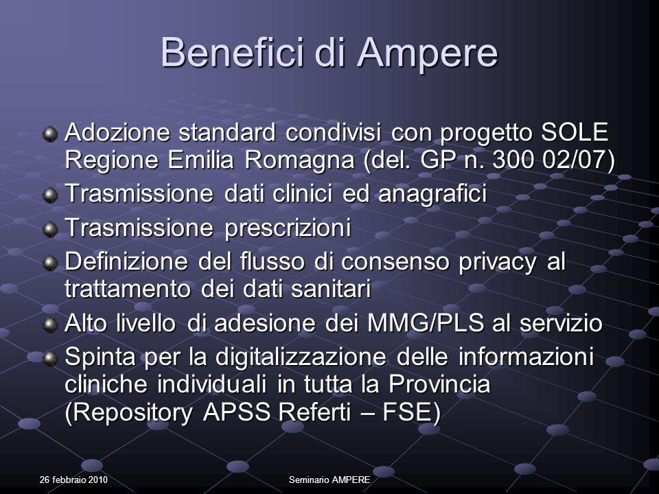 Benefici di AmpereAdozione standard condivisi con progetto SOLE Regione Emilia Romagna (del. GP n. 300 02/07)