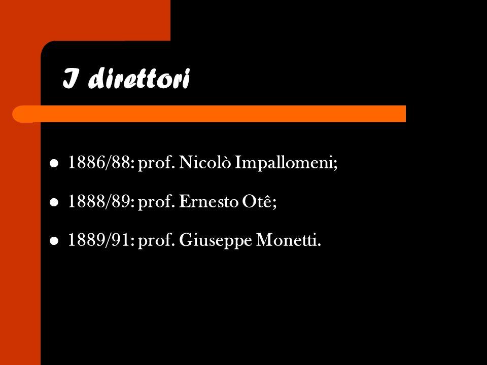 I direttori 1886/88: prof. Nicolò Impallomeni;