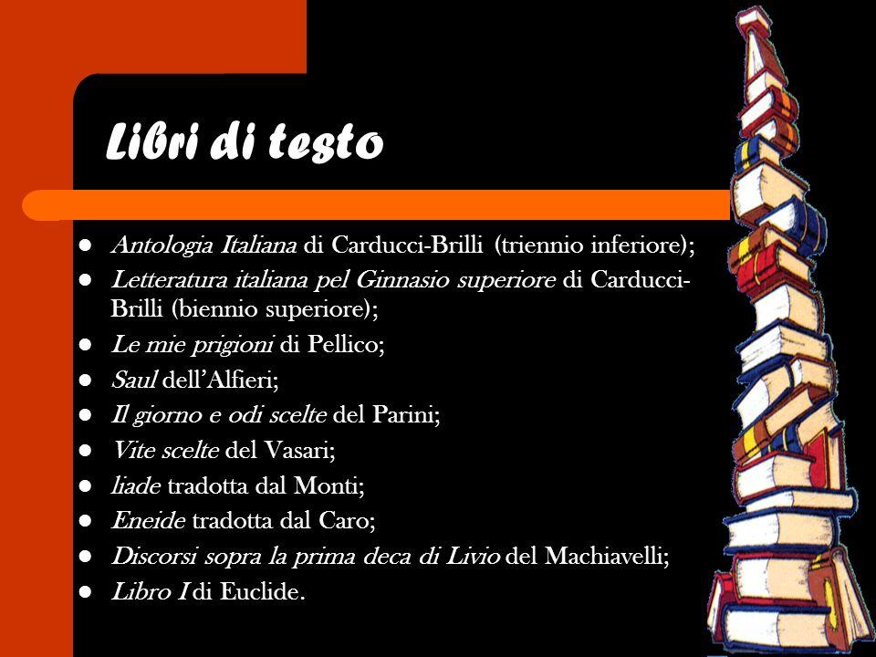 Libri di testo Antologia Italiana di Carducci-Brilli (triennio inferiore);