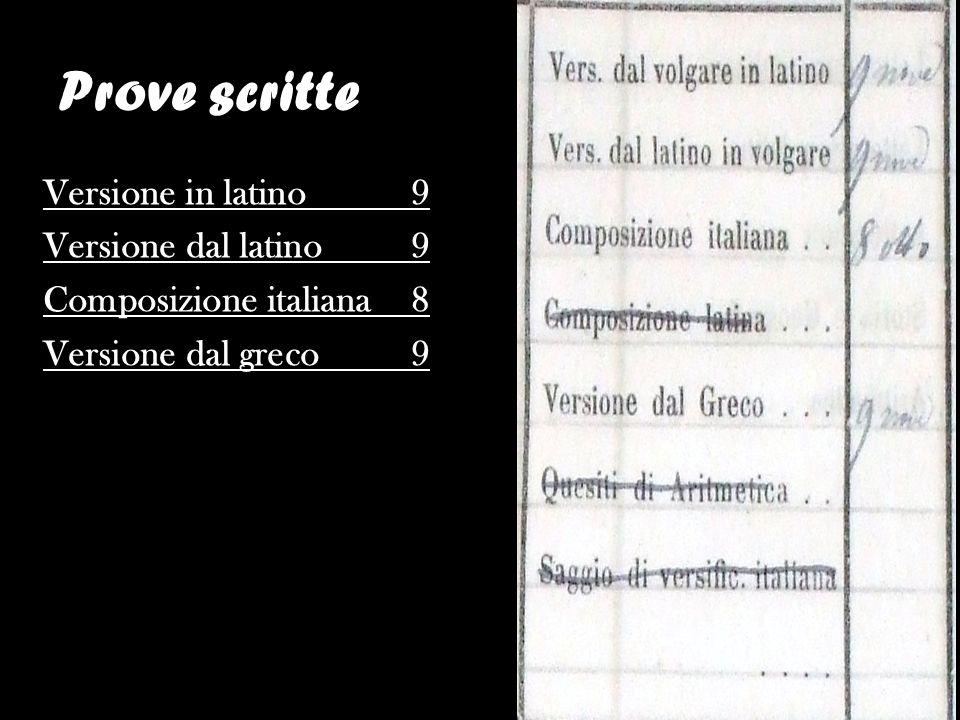 Prove scritte Versione in latino 9 Versione dal latino 9