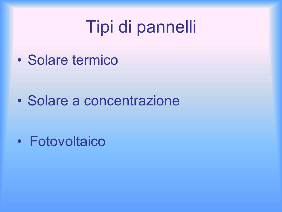 Tipi di pannelli • Solare termico • Solare a concentrazione