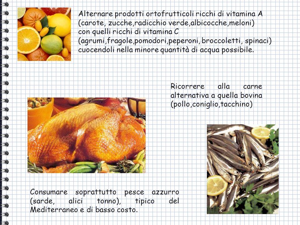 Alternare prodotti ortofrutticoli ricchi di vitamina A (carote, zucche,radicchio verde,albicocche,meloni)