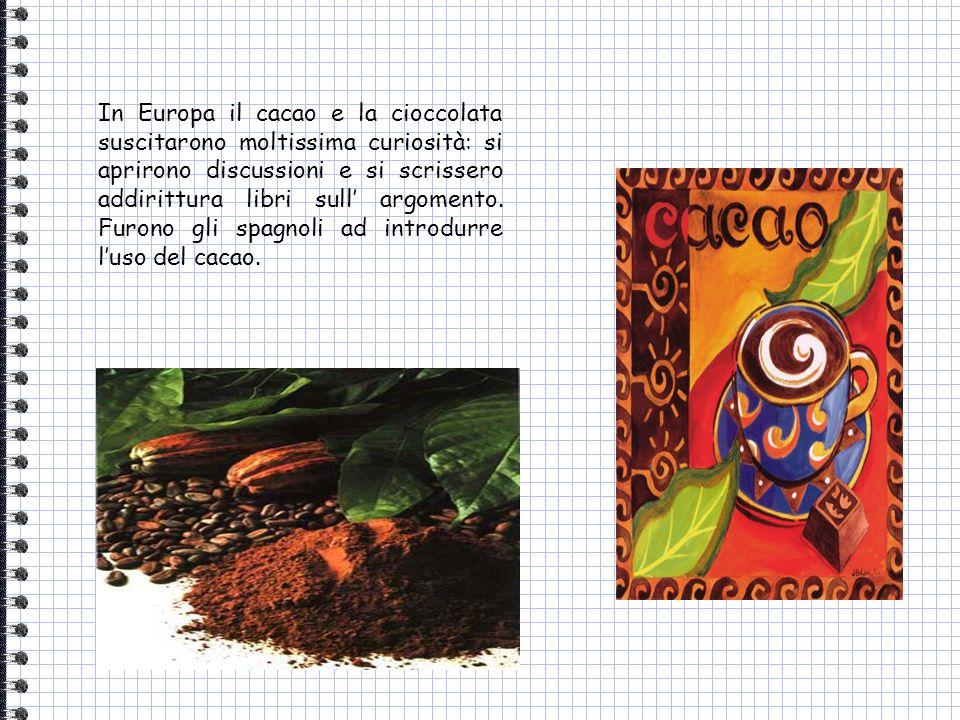 In Europa il cacao e la cioccolata suscitarono moltissima curiosità: si aprirono discussioni e si scrissero addirittura libri sull' argomento.