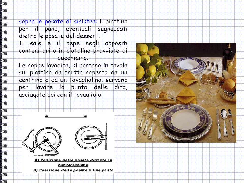 sopra le posate di sinistra: il piattino per il pane, eventuali segnaposti dietro le posate del dessert.
