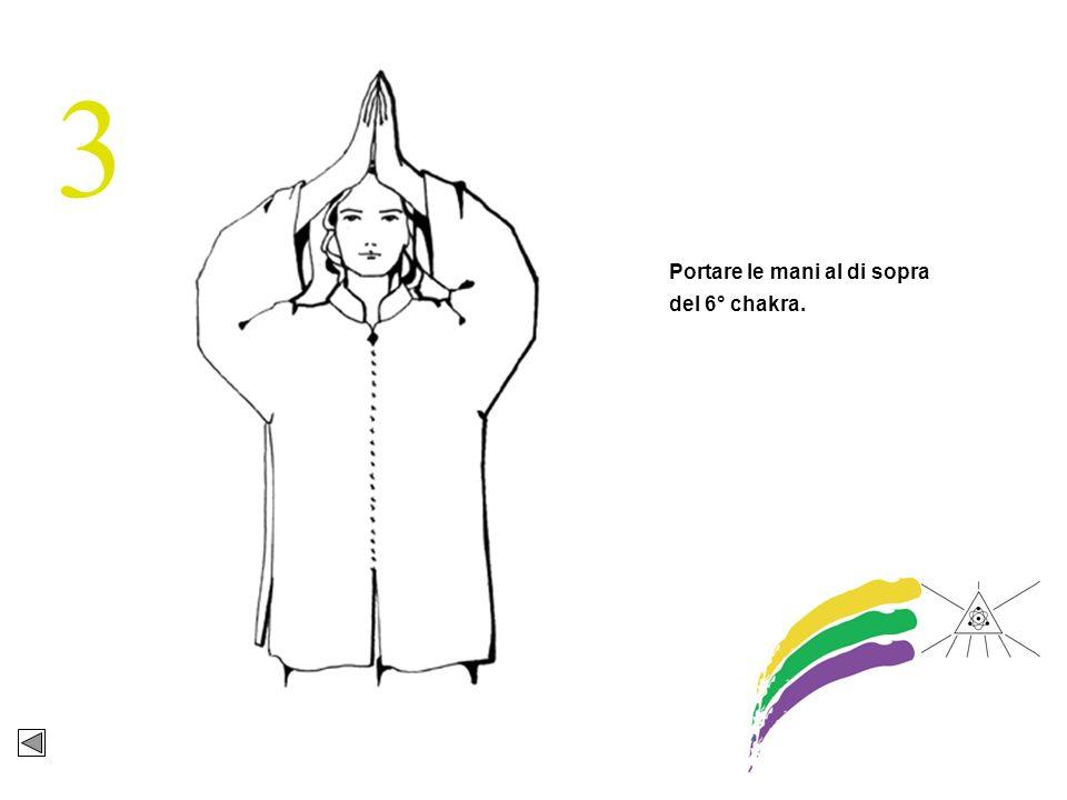 3 Portare le mani al di sopra del 6° chakra.