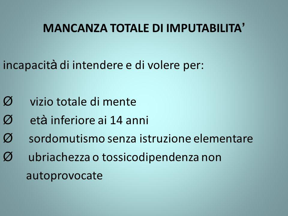 MANCANZA TOTALE DI IMPUTABILITA'