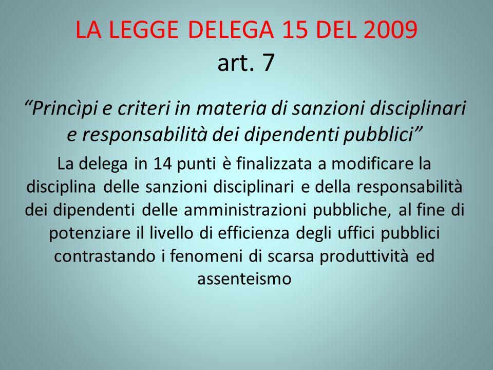 LA LEGGE DELEGA 15 DEL 2009 art. 7 Princìpi e criteri in materia di sanzioni disciplinari e responsabilità dei dipendenti pubblici