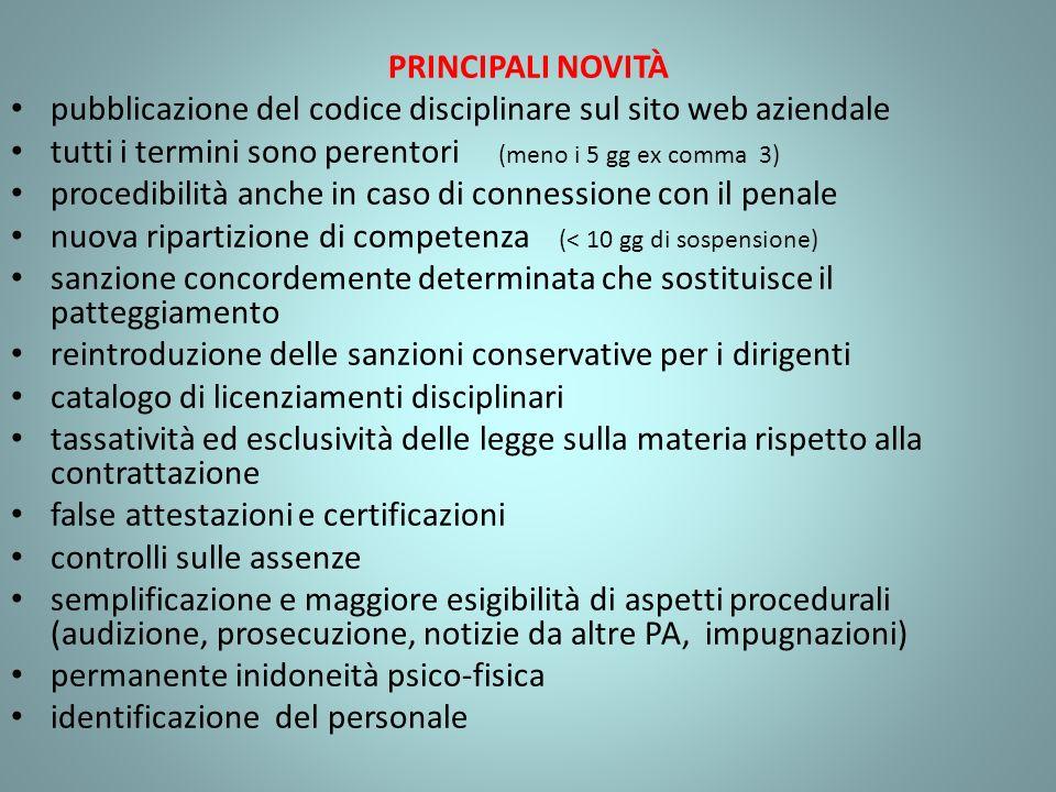 PRINCIPALI NOVITÀ pubblicazione del codice disciplinare sul sito web aziendale. tutti i termini sono perentori (meno i 5 gg ex comma 3)