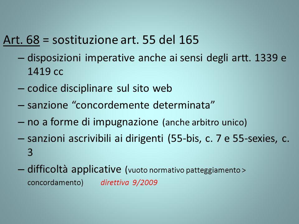 Art. 68 = sostituzione art. 55 del 165