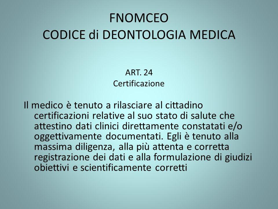 FNOMCEO CODICE di DEONTOLOGIA MEDICA