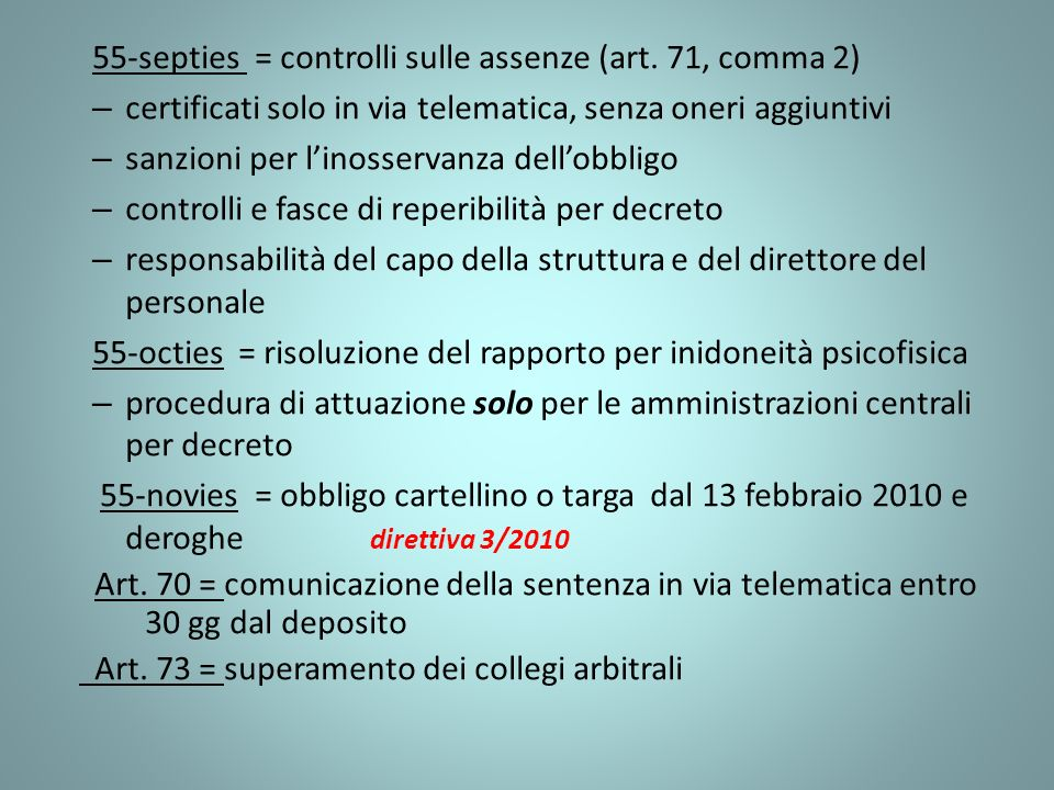 55-septies = controlli sulle assenze (art. 71, comma 2)