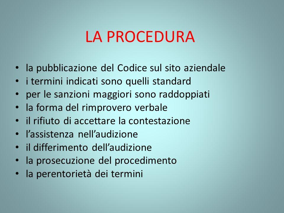 LA PROCEDURA la pubblicazione del Codice sul sito aziendale