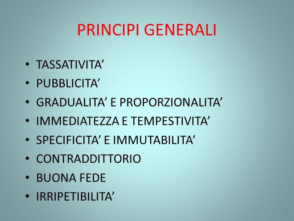 PRINCIPI GENERALI TASSATIVITA' PUBBLICITA'