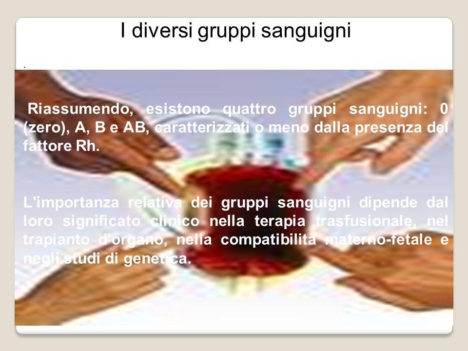 I diversi gruppi sanguigni