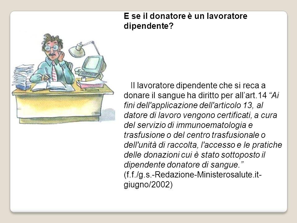 E se il donatore è un lavoratore dipendente