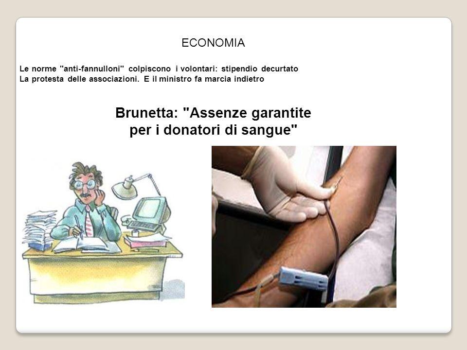Brunetta: Assenze garantite per i donatori di sangue