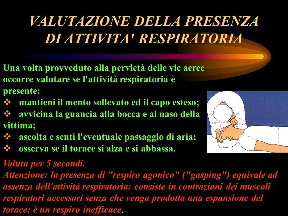 VALUTAZIONE DELLA PRESENZA DI ATTIVITA RESPIRATORIA