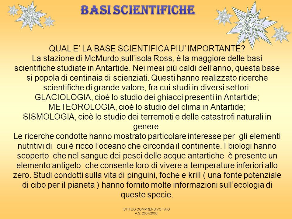 BASI SCIENTIFICHE QUAL E' LA BASE SCIENTIFICA PIU' IMPORTANTE
