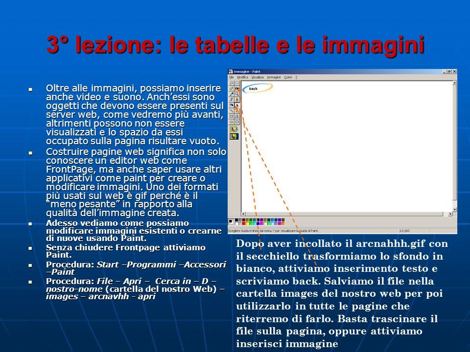 3° lezione: le tabelle e le immagini