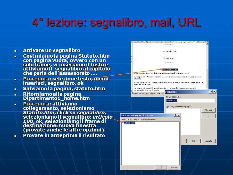4° lezione: segnalibro, mail, URL