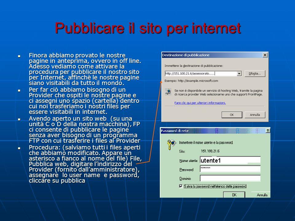 Pubblicare il sito per internet