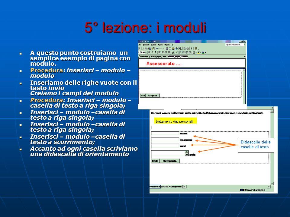 5° lezione: i moduli A questo punto costruiamo un semplice esempio di pagina con modulo. Procedura: inserisci – modulo – modulo.