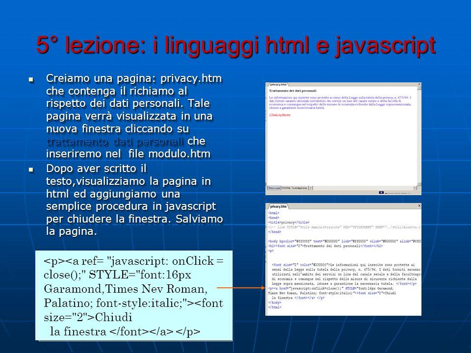 5° lezione: i linguaggi html e javascript