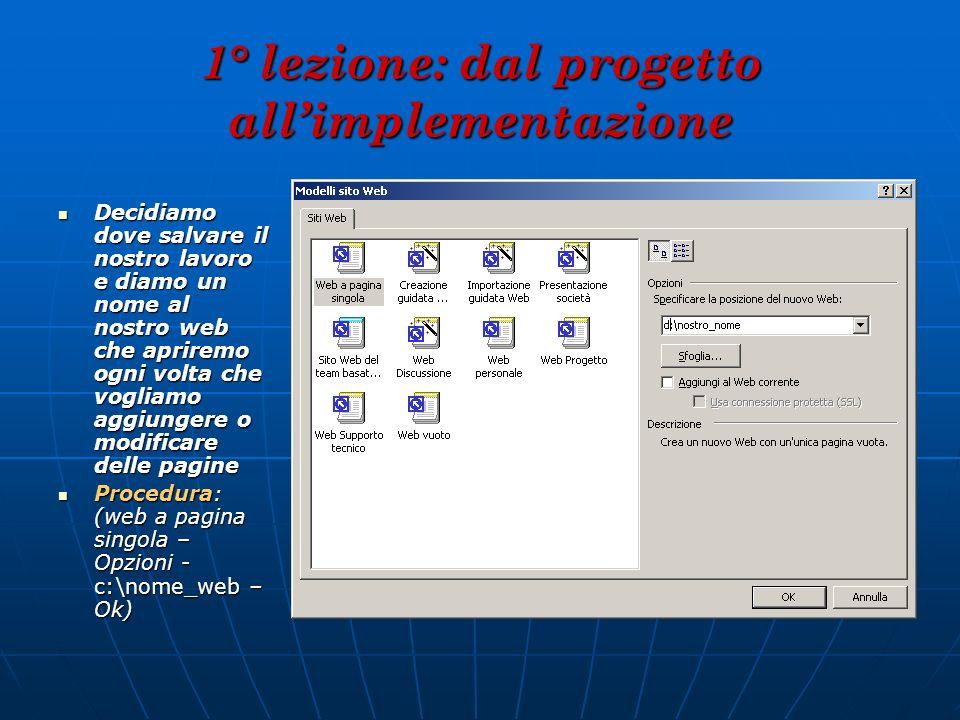 1° lezione: dal progetto all'implementazione