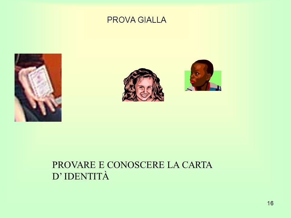 PROVARE E CONOSCERE LA CARTA D' IDENTITÀ