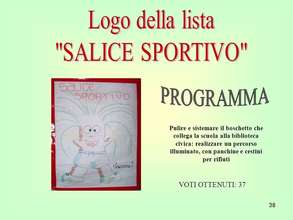 Logo della lista SALICE SPORTIVO PROGRAMMA VOTI OTTENUTI: 37
