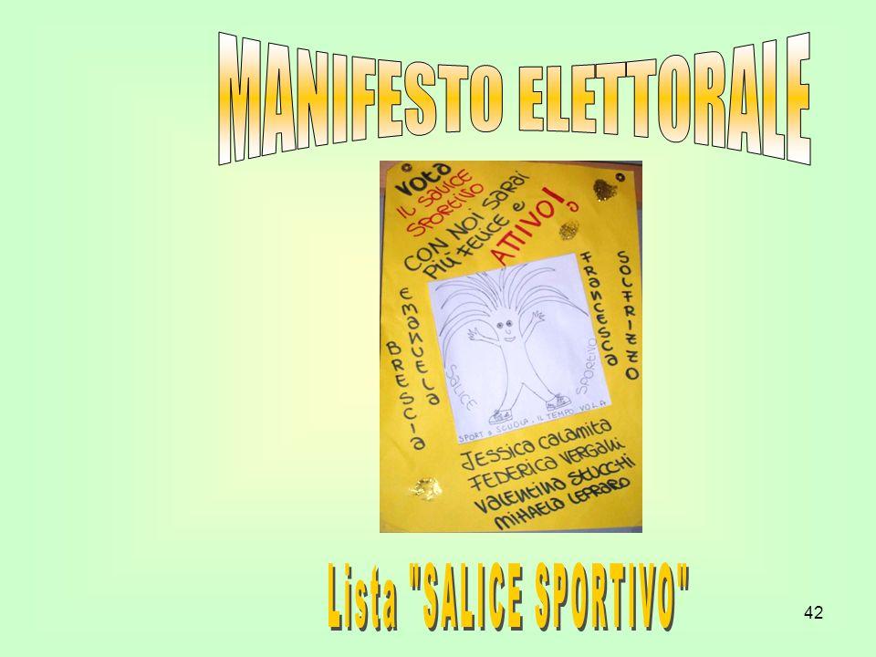 MANIFESTO ELETTORALE Lista SALICE SPORTIVO