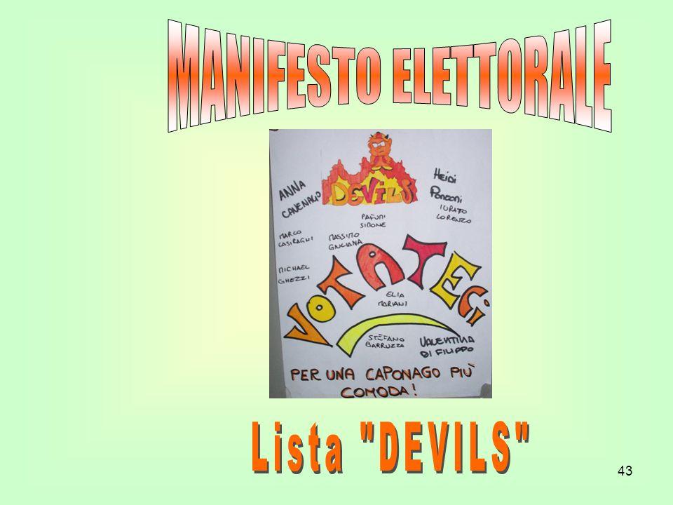 MANIFESTO ELETTORALE Lista DEVILS