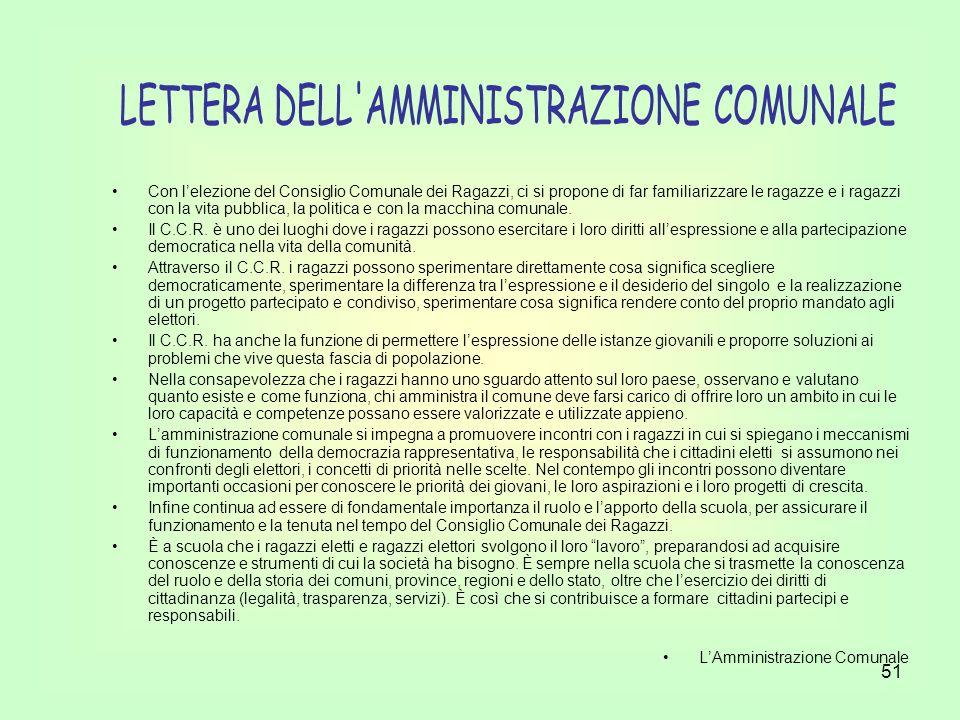 LETTERA DELL AMMINISTRAZIONE COMUNALE