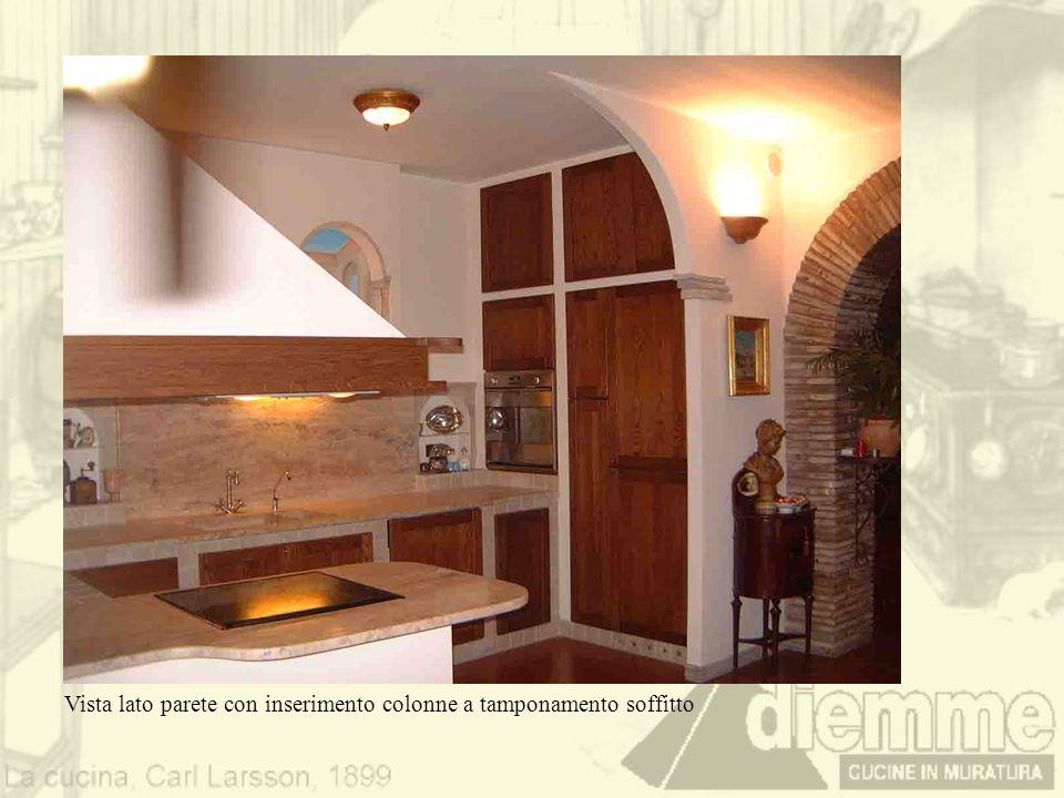 Vista lato parete con inserimento colonne a tamponamento soffitto