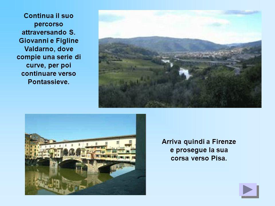 Arriva quindi a Firenze e prosegue la sua corsa verso Pisa.