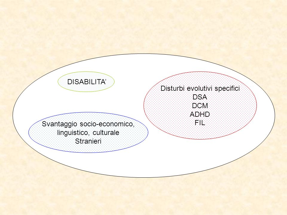 Disturbi evolutivi specifici DSA DCM ADHD FIL DISABILITA'