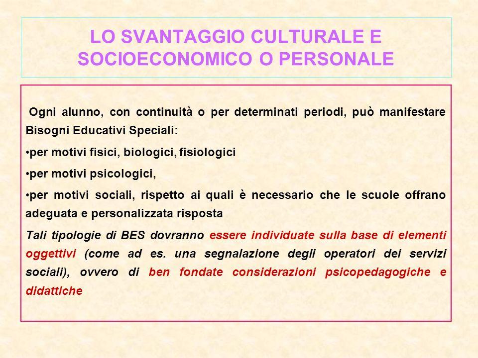 LO SVANTAGGIO CULTURALE E SOCIOECONOMICO O PERSONALE