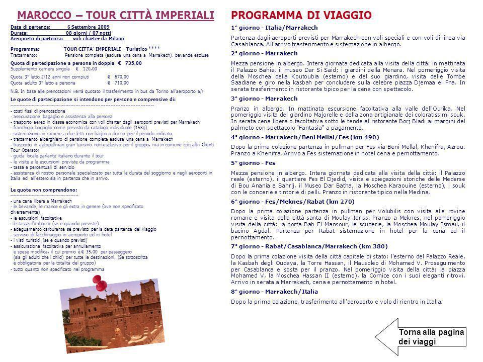 MAROCCO – TOUR CITTÀ IMPERIALI
