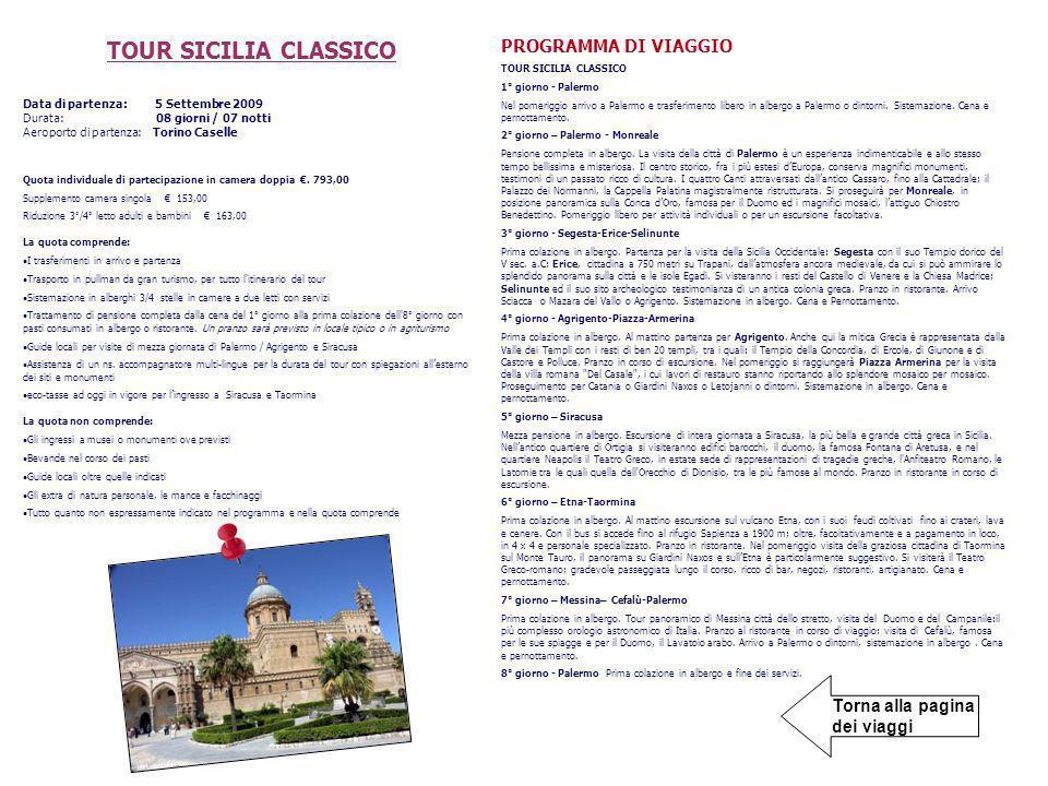 TOUR SICILIA CLASSICO PROGRAMMA DI VIAGGIO
