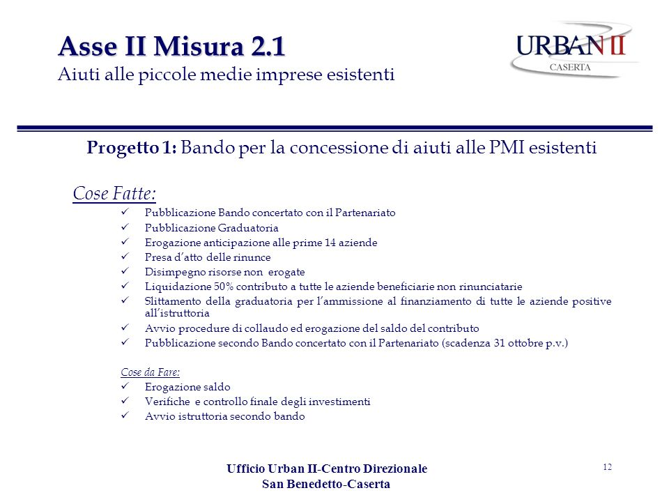 Asse II Misura 2.1 Aiuti alle piccole medie imprese esistenti