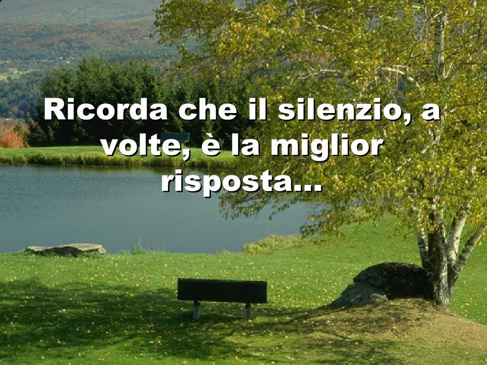 Ricorda che il silenzio, a volte, è la miglior risposta...