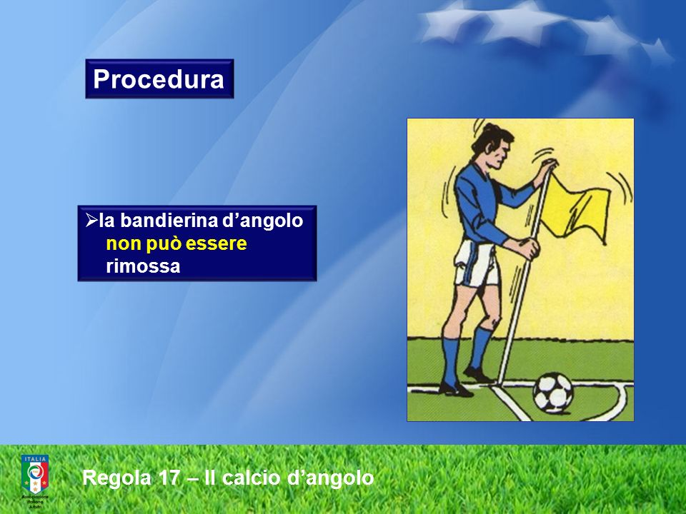 Procedura Regola 17 – Il calcio d'angolo la bandierina d'angolo